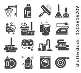 cleaning gray icons set.... | Shutterstock .eps vector #1303616209