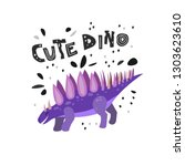 cute dinosaur hand drawn with...   Shutterstock .eps vector #1303623610
