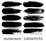set of brush strokes  black ink ... | Shutterstock .eps vector #1303635193