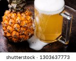 glass with eya with pineapple... | Shutterstock . vector #1303637773