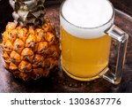 glass with eya with pineapple... | Shutterstock . vector #1303637776