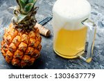glass with eya with pineapple... | Shutterstock . vector #1303637779