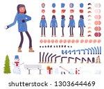 stylish man in blue down jacket ... | Shutterstock .eps vector #1303644469