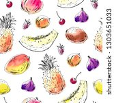 hand drawn fruit seamless... | Shutterstock .eps vector #1303651033