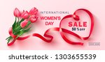 8 march happy women's day sale...   Shutterstock .eps vector #1303655539