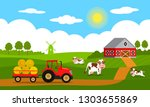 cute cows and funny calves... | Shutterstock .eps vector #1303655869