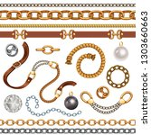 set with belts and gold and...   Shutterstock .eps vector #1303660663