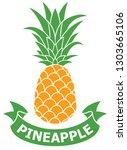 pineapple label vector... | Shutterstock .eps vector #1303665106