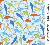 background pattern with fishing ... | Shutterstock .eps vector #1303666099