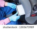 replacing the cabin pollen air...   Shutterstock . vector #1303673989