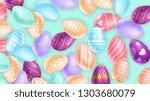 heap of amazing easter eggs... | Shutterstock .eps vector #1303680079
