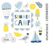 summer camp for kids concept.... | Shutterstock .eps vector #1303684033