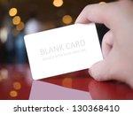 hand holding white dummy card ... | Shutterstock . vector #130368410