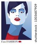 fashion woman in style pop art. | Shutterstock .eps vector #1303687909