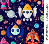 seamless pattern of planets and ...   Shutterstock .eps vector #1303696300