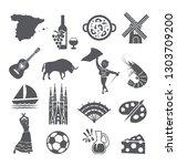 spain icons set. spanish... | Shutterstock . vector #1303709200