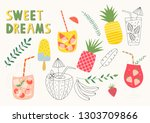 set of summer lemonade and... | Shutterstock .eps vector #1303709866