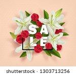summer sale design  3d colorful ... | Shutterstock .eps vector #1303713256