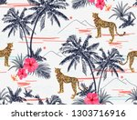 beautiful tropical vector... | Shutterstock .eps vector #1303716916