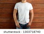 template clothes. sport slim... | Shutterstock . vector #1303718740