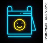neon calendar with smile sign.... | Shutterstock .eps vector #1303720090