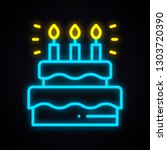 neon cake sign with candles.... | Shutterstock .eps vector #1303720390