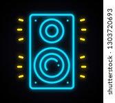 neon music column sign. glowing ... | Shutterstock .eps vector #1303720693