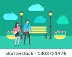 people walking in park vector ...   Shutterstock .eps vector #1303721476