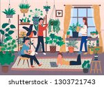 florists and house full of... | Shutterstock .eps vector #1303721743