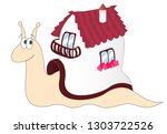 cartoon snail with a house on... | Shutterstock . vector #1303722526