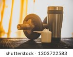 whey protein shaker and... | Shutterstock . vector #1303722583