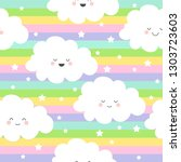 seamless pattern with pretty... | Shutterstock .eps vector #1303723603