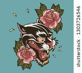 panther tattoo vector retro | Shutterstock .eps vector #1303726546