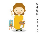 sandro botticelli cartoon... | Shutterstock .eps vector #1303734433