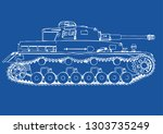 drawing of old military... | Shutterstock .eps vector #1303735249