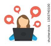 woman blogger using social... | Shutterstock .eps vector #1303740100