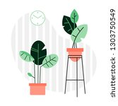 a collection of indoor plants... | Shutterstock .eps vector #1303750549