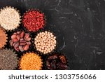 various superfoods in small... | Shutterstock . vector #1303756066
