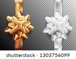 golden  silver white gift bow... | Shutterstock .eps vector #1303756099