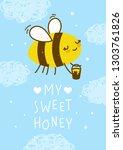 cute honey bee on blue sky... | Shutterstock .eps vector #1303761826