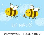 cute honey bees on blue sky... | Shutterstock .eps vector #1303761829