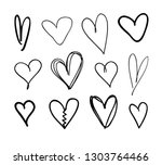 doodle set of black and white... | Shutterstock .eps vector #1303764466