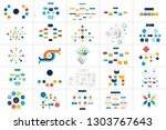 mega set of various  flowcharts ... | Shutterstock .eps vector #1303767643