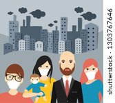 people in mask in polution city ... | Shutterstock .eps vector #1303767646