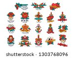 colorfull tattoos in vintage...   Shutterstock .eps vector #1303768096