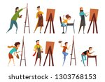artists painting on canvas set  ... | Shutterstock .eps vector #1303768153