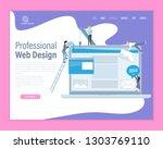 web design theme vector landing ...   Shutterstock .eps vector #1303769110