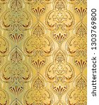 fancy gold classic wallpaper... | Shutterstock . vector #1303769800