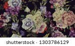 seamless floral pattern with... | Shutterstock . vector #1303786129