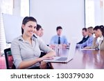 business woman  with her staff  ... | Shutterstock . vector #130379030